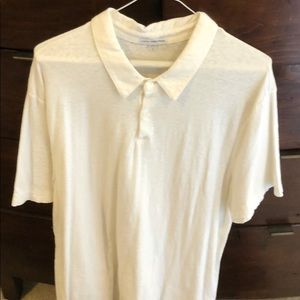 James Perse white polo style shirt